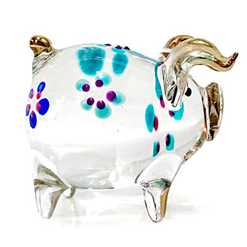 Sansukjai Pig Figurines Animals Hand Painted Flower Blown Glass Art Gold Trim Collectible Gift -