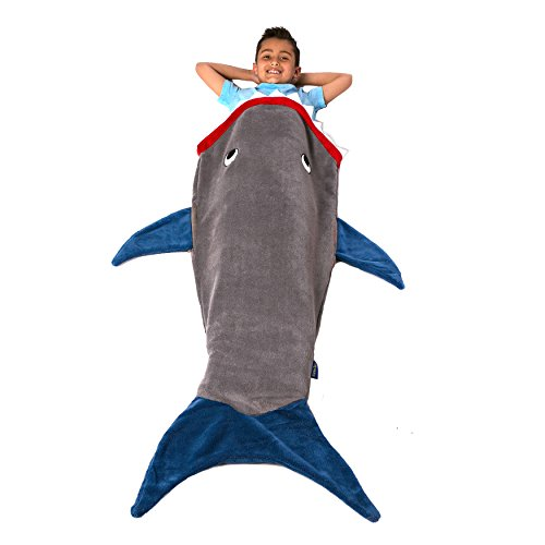 Blankie Tails Shark Blanket, Gray and Deep Blue