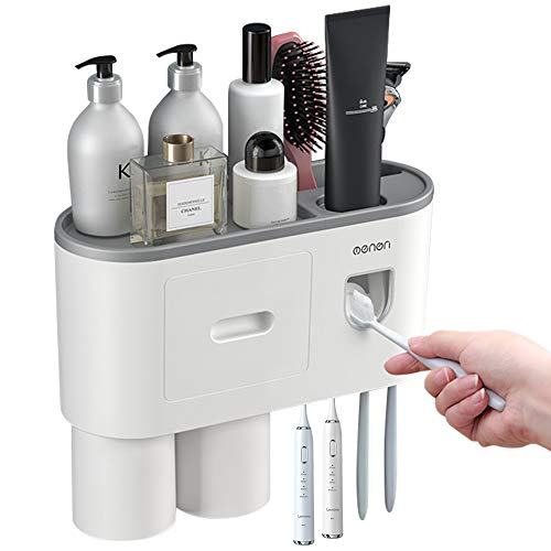 IWNTWY Toothbrush Holder, Wall Mounted Toothpaste Squeezer Kit with Automatic Toothpaste Dispenser, 4 Toothbrush Slots, 2 Magnetic Cup and Drawers Cosmetic Organizer for Bathroom Washroom