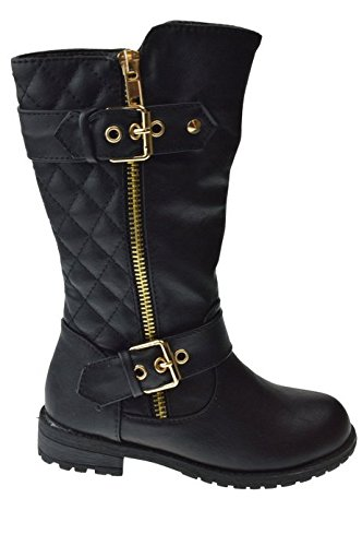 Little Girls New Knee High Flat Riding Boots Shoes, Black, Little Kid 1