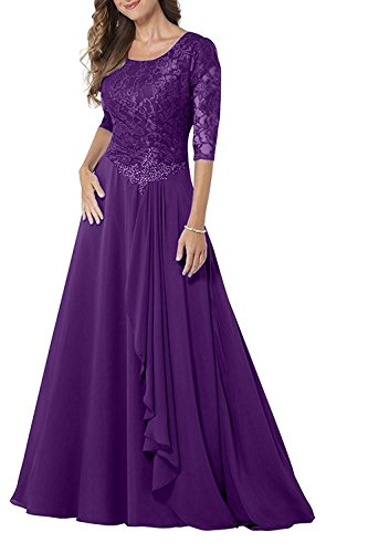 GMAR Elegant Half Sleeves Mother Of The Bride Dresses Lace Chiffon Formal Gowns