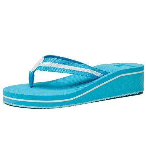(NewDenBer Women's Comfortable Wedge Flip-Flop (10 B(M) US, Sky Blue))