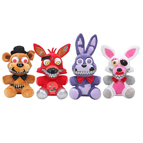 PAPCOOL Set 4 FNAF Plush Toys 9 inch Hot Toy Foxy Bonnie Freddy Bear Mini Cute Stuffed Keychain Sister Location Dolls Christmas Halloween Collectable Gift Gifts Stuff Collectible Collectibles for Kids]()