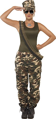 Camo Vest Costume (Smiffy's Women's Khaki Camo Costume Female Includes Vest and Trousers, Multi, X-Small)