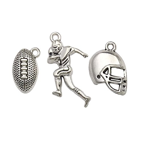 Youdiyla 60PCS Football Theme Charms Collection - Mixed Antique Silver Rugby Player Helmet Metal Alloy Pendants for Jewelry Making DIY Findings (HM131)