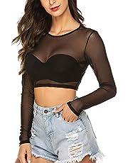 Avidlove Women's Mesh Crop Top Short/Long Sleeve See Through Shirt Sexy Sheer Cropped Tee
