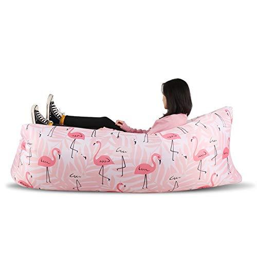 QXX Cute Pattern Inflatable Lazy Sofa Creative Light Air Sofa Beach Travel Portable Collapsible Nap Air Cushion 180×63cm (Color : Pink) from QXX-sofa