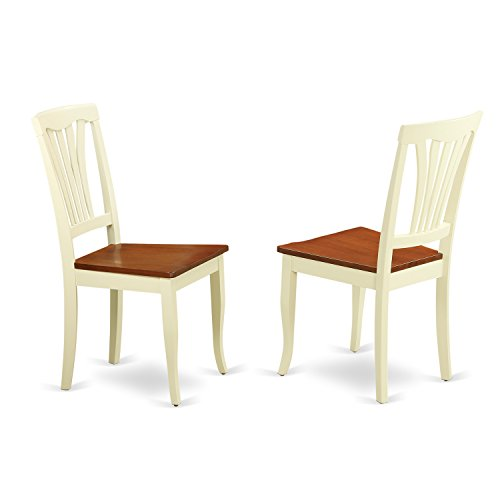 East West Furniture AVC-WHI-W Dining Chair Set with Wood Seat, Buttermilk/Cherry Finish, Set of - Cherry Seat Chair Two