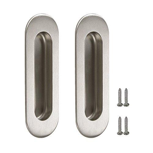 (Gobrico 304# Satinless Steel Oval-shape 120mmx40mm Finger Flush Pulls Insert Sliding Door Handle Satin Nickel Finished, 2pack)
