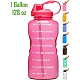 Venture Pal Large 128oz Leakproof BPA Free Fitness Sports Water Bottle with Motivational Time Marker & Straw to Ensure You Drink Enough Water Throughout The Day