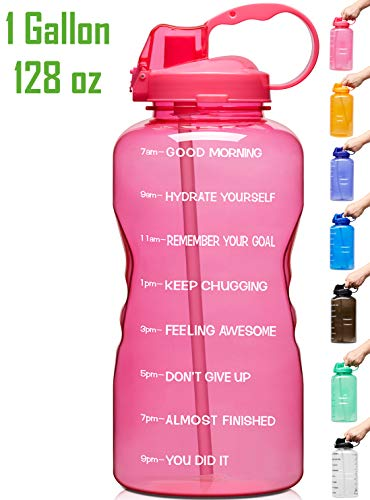 Best 1 gallon water jug - Venture Pal Large 1 Gallon/128 OZ (When Full) Motivational BPA Free Leakproof Water Bottle with Straw & Time Marker Perfect for Fitness Gym Camping Outdoor Sports-Pink