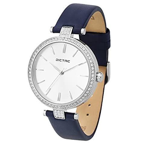 Dictac Women Lady Waterproof Analog Quartz Crystal Dial Clock Leather Wrist Watch (Blue) (Water Proof Watches Ladies)
