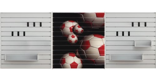 Jifram 11000130 Easy Living Themed Slatwall Storage System ''Spirit Wall'' Digitally Printed Soccer Theme Slatwall Kit by Jifram Extrusions