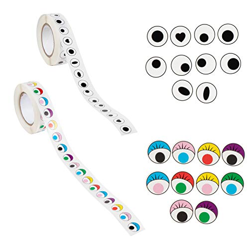 Eye Stickers - 1000-Piece Colorful Eye Stickers, Novelty Eyeball Stickers Labels, for Kids Art Craft DIY, Scrapbooking, School Project, Card Making, 2 Rolls, Assorted Design, 0.5 Inches Diameter]()