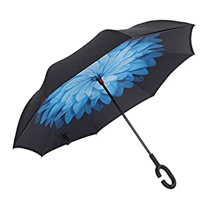 Aweoods Double Layer Inverted Umbrella Cars Reversible Umbrella (Blue Daisy)