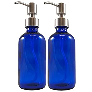 8oz Cobalt Blue Glass Boston Round Bottles w/Stainless Steel Pumps (2 pack), Great for Essential Oils, Lotions and Liquid Soap