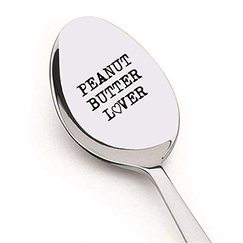 Peanut Butter Lover On a Spoon by Weenca - Sturdy Long Handle Spoon - Simple and Elegant with a Mirror Finish - Long Lasting Inscription