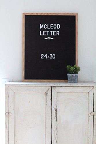 24 x 30 Black Felt Letter Board with 2 in white letter set by McLeod Letter Co.