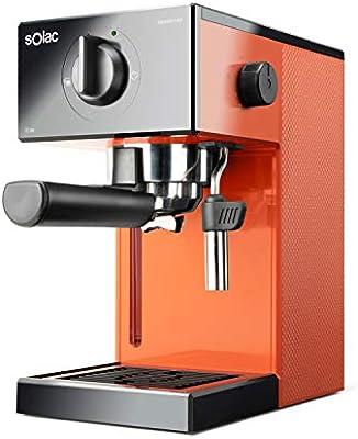 Solac CE4503 Squissita Easy Orange - Cafetera espresso, 20 bar, Double Cream, Espresso y Cappuccino, 1050 W, Portafiltros 1 ó 2 cafés, Monodosis/molido, Vaporizador de acero inoxidable, 1.5 l, Naranja: Amazon.es: Hogar