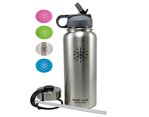 Split Lid - Smart Flask Stainless Steel Water Bottle, 18 Oz, Vacuum Insulated, Includes Leakproof Metal Lid, and Convenient Straw Lid. Fits most Car Cup Holders. (Stainless Steel)