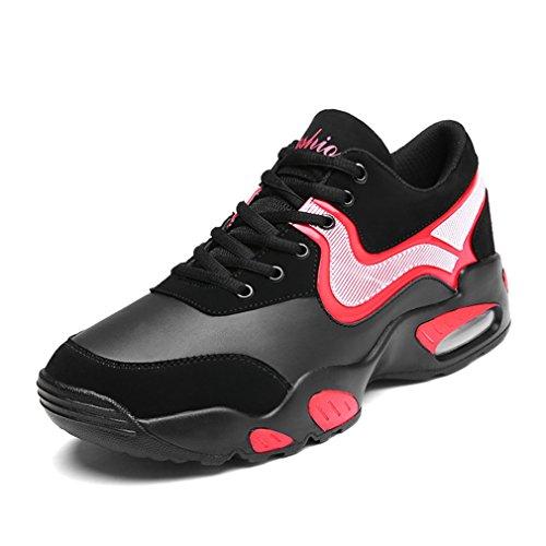 Homme Chaussure de Mode Basket pour Trail Entraînement Fitness Sport Cheville Lacets Antidérapage 39-44 Confort noir rouge,velours