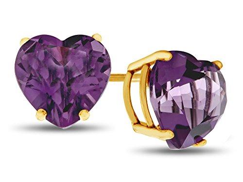 Finejewelers 7x7mm Heart Shaped Amethyst Post-With-Friction-Back Stud Earrings 14 kt Yellow (Amethyst 14k Gold Post Earrings)