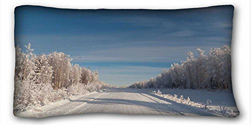 Custom Cotton & Polyester Soft ( Nature road sky Trees Cedars bird Winter frost frost ) DIY Pillow Cover Size 20