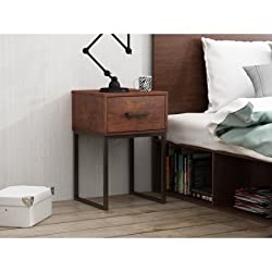 Metal and Wood Nightstand with Storage Drawer, End Table, Sturdy Construction, Extra Space, Perfect for Bedroom, Living Room, Side Table, Cherry Finish, Practical Furniture