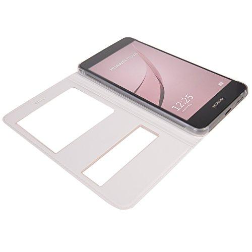 Huawei Nova Funda,COOLKE Diseño de ventana Flip Funda Con Soporte Plegable Carcasa Funda Tapa Case Cover para Huawei Nova - Oro Blanco