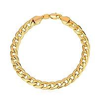 "Brazalete de cadena de eslabones cubanos de 7 mm de ancho plateado de oro de 18Q de U7 Men, 8.3 """
