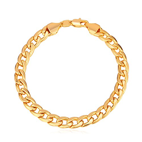 f7b4a6d79e890 U7 Men Women 18K Gold Plated Classic 7mm Wide Cuban Link Chain - Import It  All