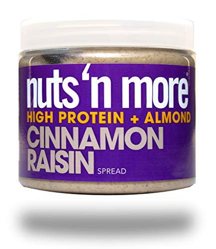 (Nuts 'N More Cinnamon Raisin Almond Butter Spread, Keto, High Protein Nut Butter Snack, Low Carb, Low Sugar, Gluten-Free, All Natural, 16 oz Jar)