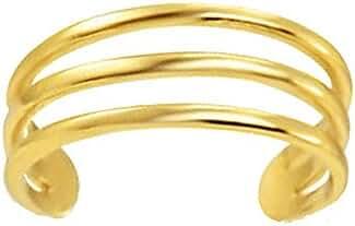 14K Yellow Gold Three Row Band Toe Ring Body Art Adjustable