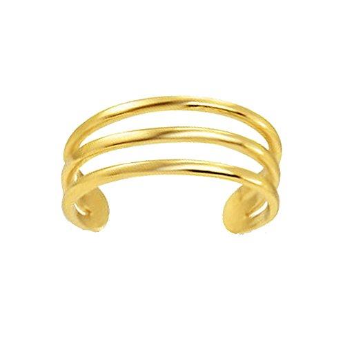 Ritastephens 14k Yellow Gold Three Row Band Toe Ring Body Art Adjustable ()