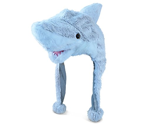 Super Soft Plush Hat Shark Light Grey