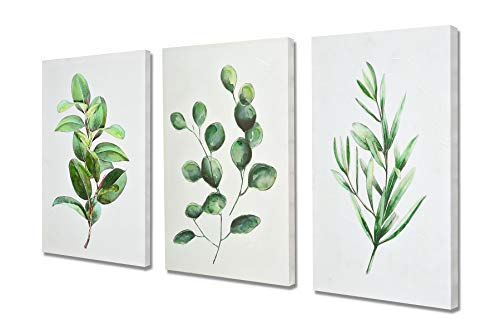 Fox Art Oil Paintings Canvas Art Prints Green Organic Botanic Fern Leaves Eucalyptus Leaves Hand Painted for Kitchen Room Dining Room Bedroom Stretched and Framed Ready to Hang Set of 3 48x24Inch - Hand Painted Dining Room