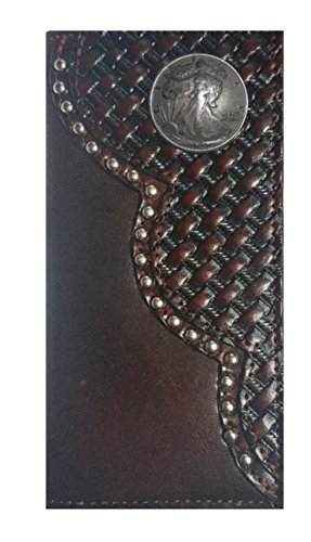 Dollar Custom Wallet Black MADE THE Heads Half Long Weave IN Checkbook Cherry Walking Liberty Proudly Basket USA Leather 7XgwXqr