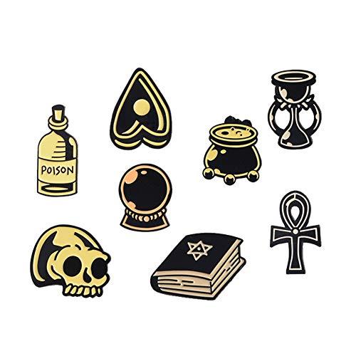 8 Pieces Cartoon Black Witch Pin Set, Enamel Skull Collar Brooch Pins for Women
