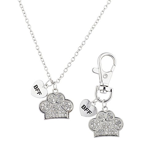 Lux Accessories Silver Tone Crystal Pave BFF Dog Paw Collar OwnerNecklace& Keychain Set