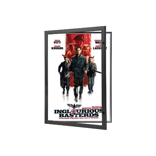 Movie Poster Case 27x40 Inches, Black SnapeZo 1.8'' Aluminum Profile, Locking Poster or Menu Case, Lockable Case, Wall Mounted, Professional Series for One Sheet Movie Posters by SnapeZo