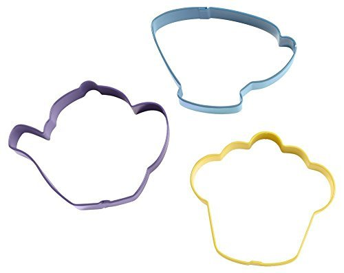(Wilton 3-Piece Tea Party, Colored Cookie Cutter Set)