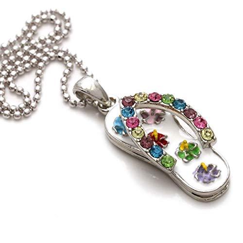 Flip-Flop Beach Sandal Necklace Charm Pendant Rhinestones Summer Jewelry (White)