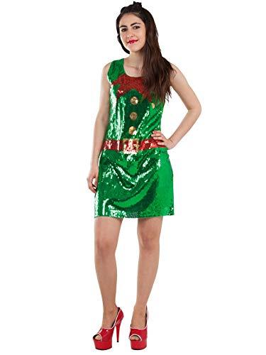 DISBACANAL Disfraz de elfa con Lentejuelas para Mujer - -, L ...