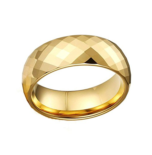 Mens Wedding Band Stainless Steel Gold Simple Bling Prismati