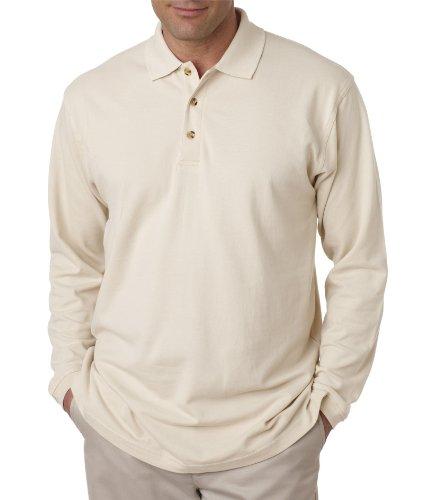 UltraClub Adult Long-Sleeve Classic Pique Polo Shirt - Stone 8532 M