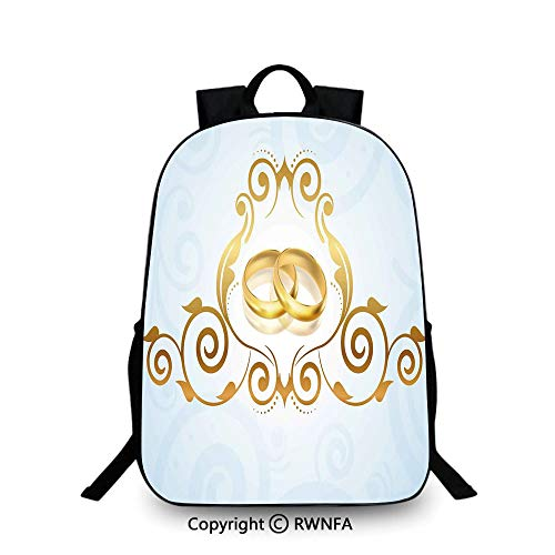 (Campus Both shoulders school bag,Vintage Style Victorian Ornaments on Blue Backdrop Rings Classical School Backpacks For boys Light Blue Gold)