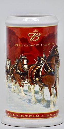 2004 - Item # CS608 - Ceramarte - Budweiser - 25th Anniversary Holiday Stein - Clydesdales - Rare
