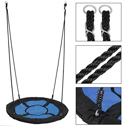 SUPER DEAL Swing Set, 40'' Kids Web Tree Swing Saucer Swing + 72'' All-Steel All Weather Stand Combo (Blue, XXL) by SUPER DEAL (Image #4)