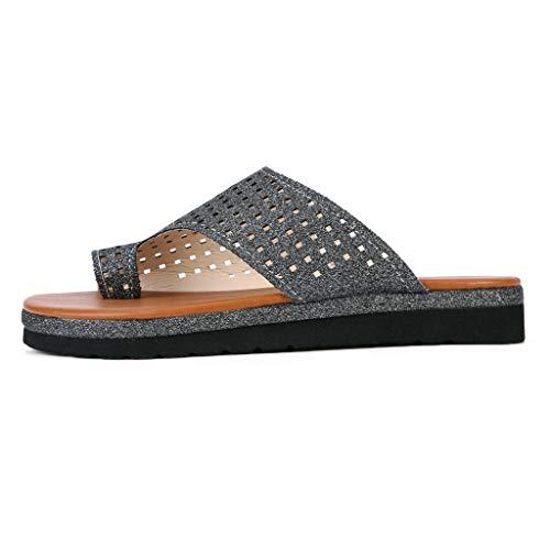 Summer Beach Flats Sandals for Women, Huazi2 New Open Toe Roman Slippers Shoes Black -