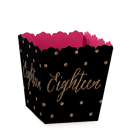 Chic 18th Birthday - Pink, Black and Gold - Party Mini Favor Boxes - Birthday Party Treat Candy Boxes - Set of 12